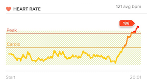 Kerri's heart rate throughout her workout, spiking at the end