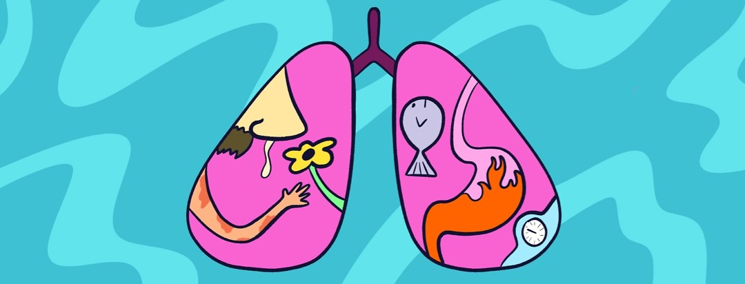 lungs with a runny nose next to a flower, arm with eczema, fish, and stomach filled with fire
