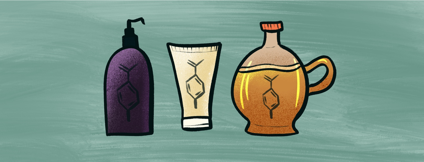 cosmetics and syrup with parabens symbol