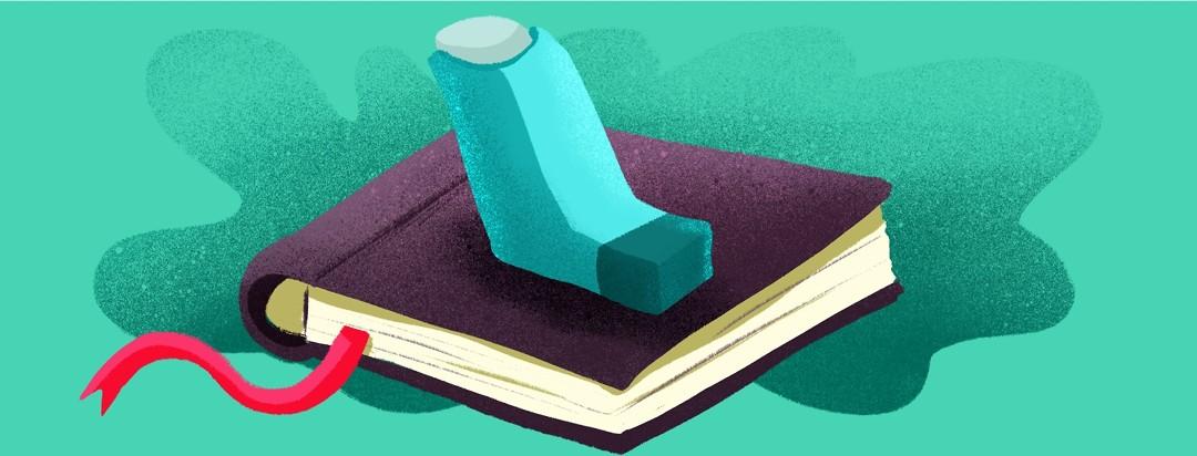 inhaler on top of a book