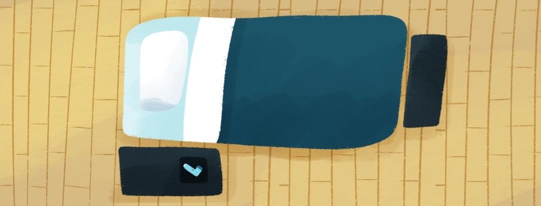 bed shaped like inhaler on hardwood flooring