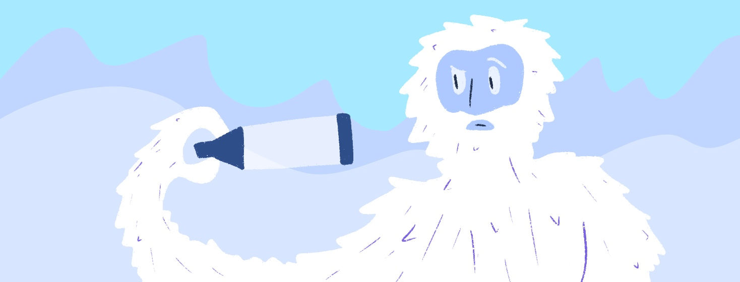 abominable snowman is holding a spacer and looks confused