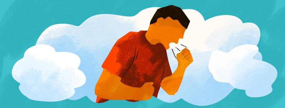 man coughing inside dream cloud