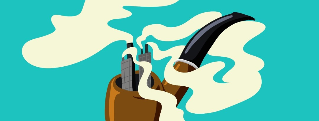 tobacco pipe with buildings and smoke stacks inside