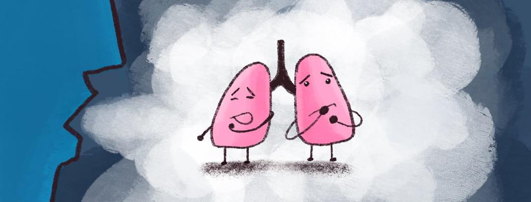 person blowing vape smoke at lungs