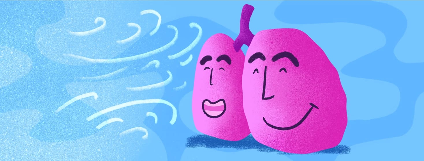 lungs smiling as cold air blows towards them