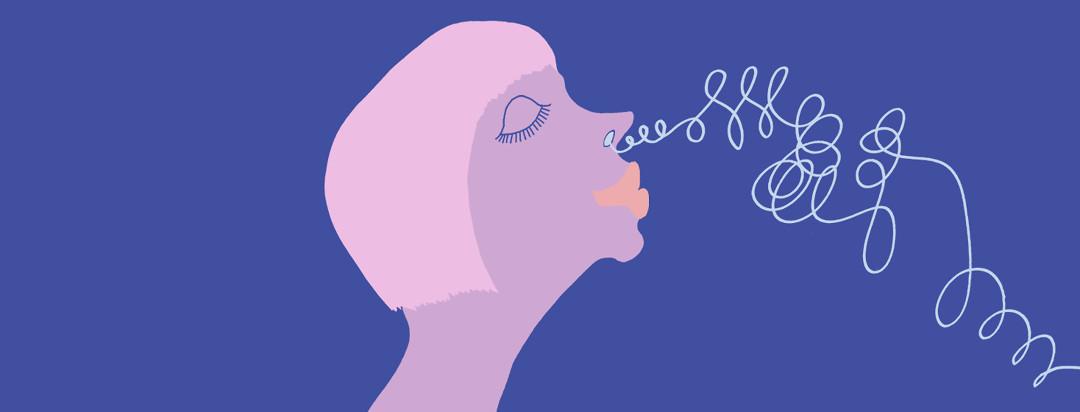 women confidently inhaling