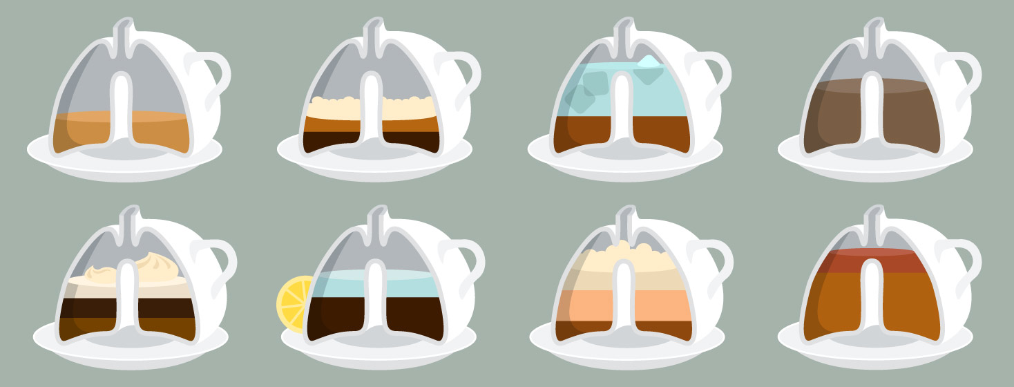 lung shaped mugs with different coffee drinks