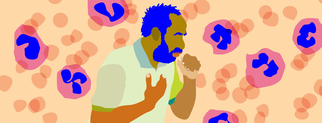 person couching with eosinophils