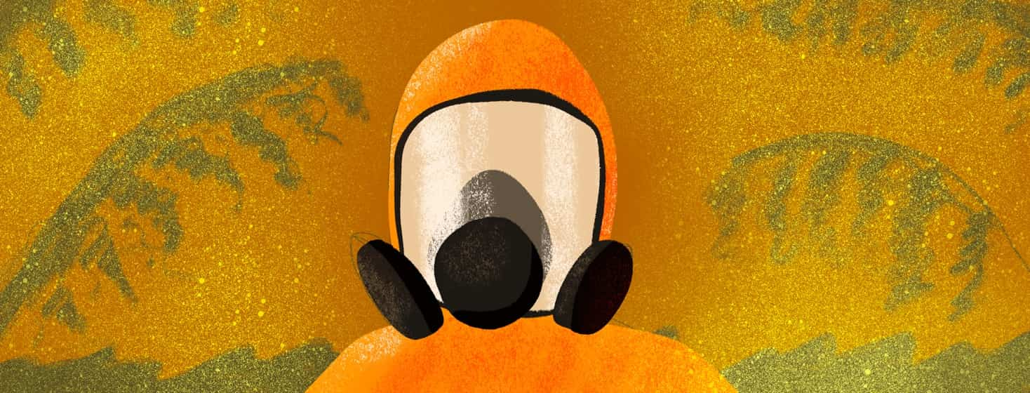 person in hazmat suit to avoid pollen