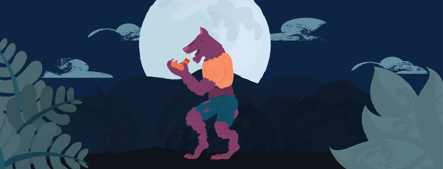 werewolf with asthma using inhaler in front of full moon