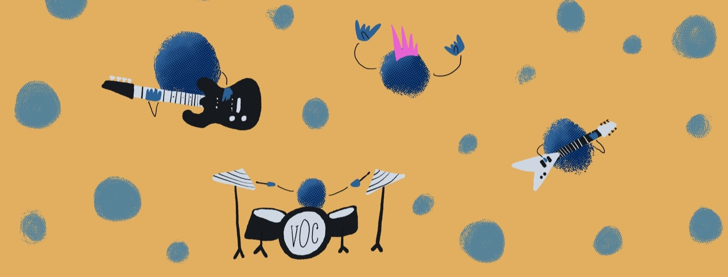 small particles with rock band instruments