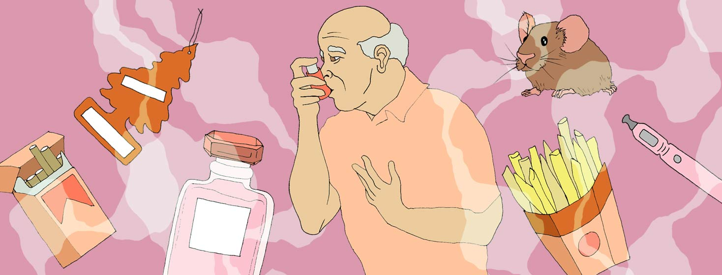 An older man clutches his chest and breathes into his inhaler as common triggers float around him.