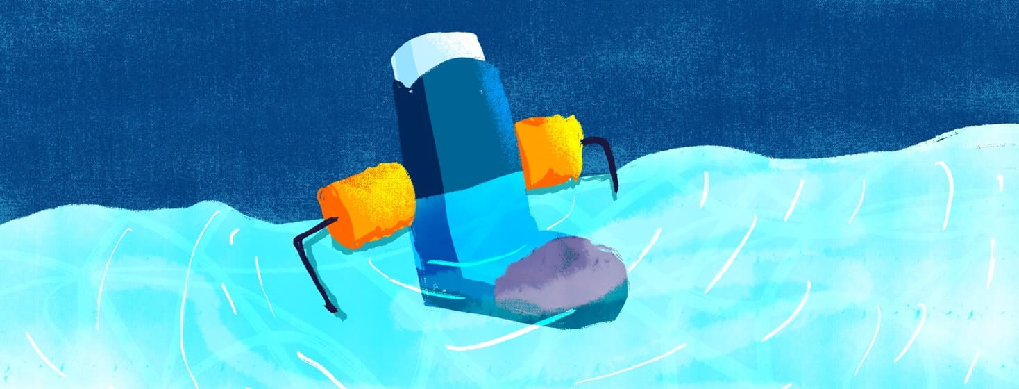 inhaler wearing floaties in water