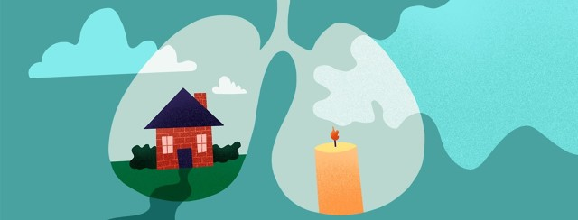 a house and a burning candle inside of lungs