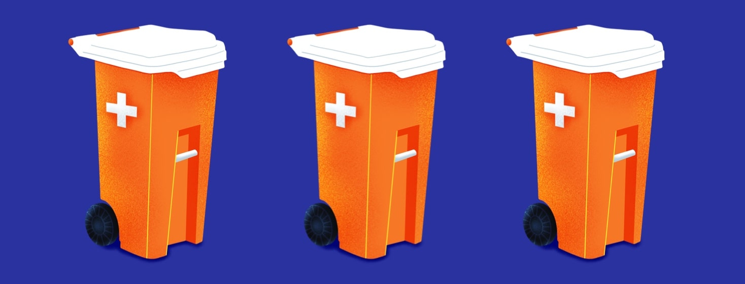garbage cans that resemble pill bottles