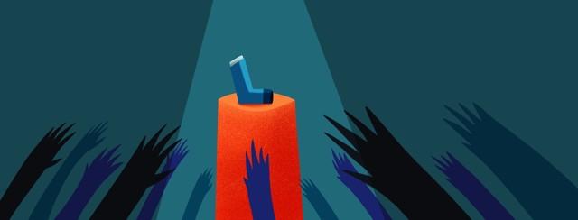 hands reaching for an inhaler on a pedestal
