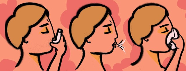 a woman uses an inhaler, then breathing exercises, and a nebulizer