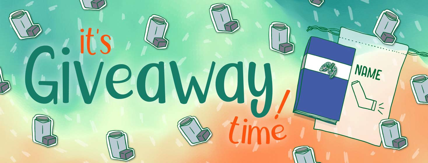 """""""It's Giveaway Time!"""" images of inhaler stickers, a lung pin, a notebook and a bag that has a picture of an inhaler and a space for the winner's name"""