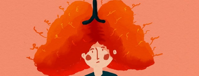 person with frizzy hair shaped like lungs