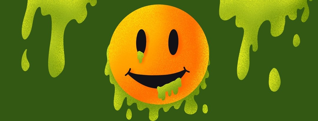 smiley face with toxic waste oozing out of it