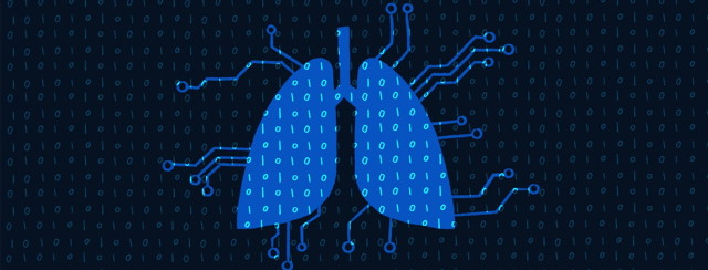 lungs that look like a computer chip on a background of ones and zeros