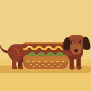 a little dog in a hotdog bun and mustard on his back