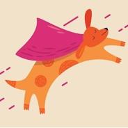 a dog with a superhero cape