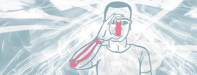 a man uses an inhaler. His arm bones are visible through his arm.