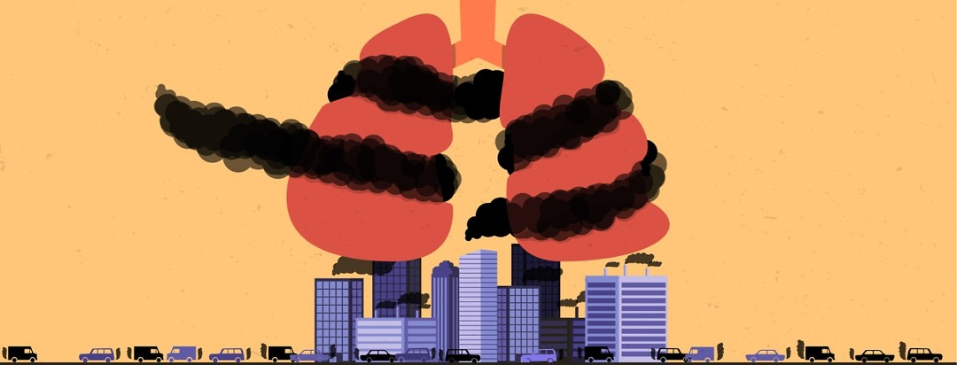 lungs being constricted by pollution being produced from the city beneath it