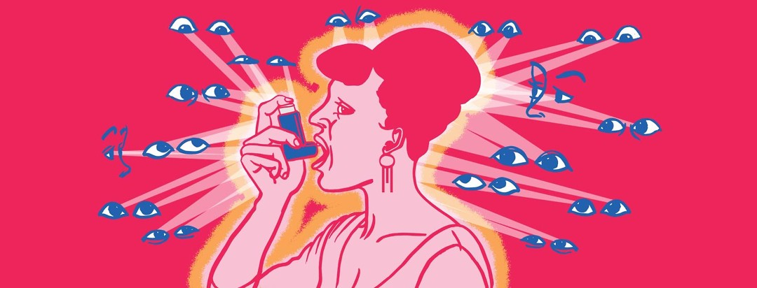 a woman on high alert as she uses an inhaler. She is surrounded by staring eyes.