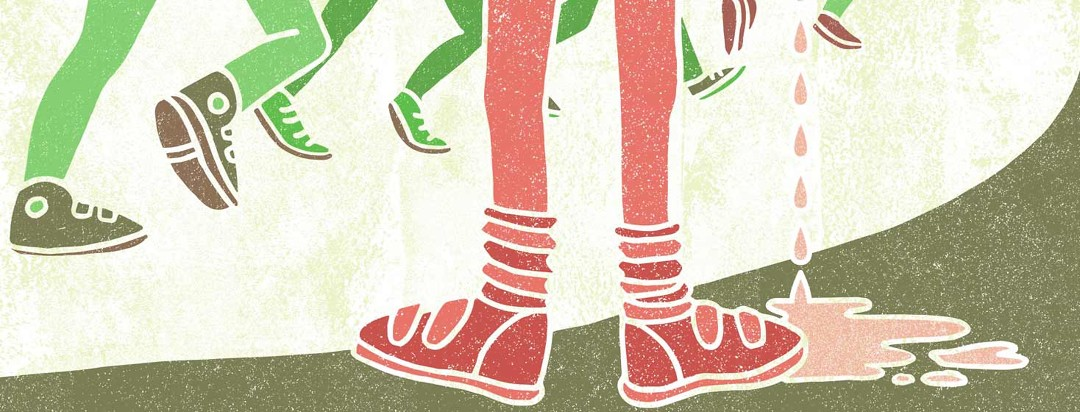 a pair of legs wearing sneakers facing other legs running. A popsicle melts beside the sneakers.