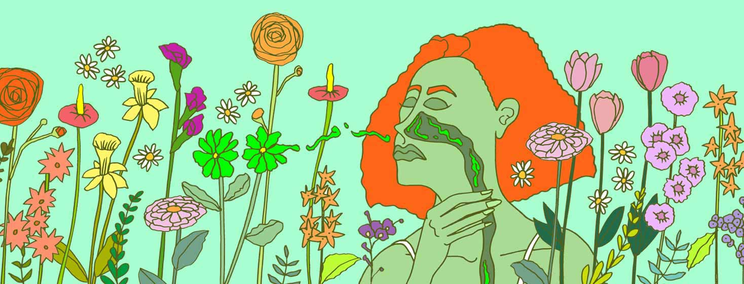 flowers release pollen into a woman's nasal tract