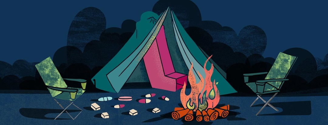 an oversize asthma inhaler fits awkwardly inside of a tent in front of a campfire