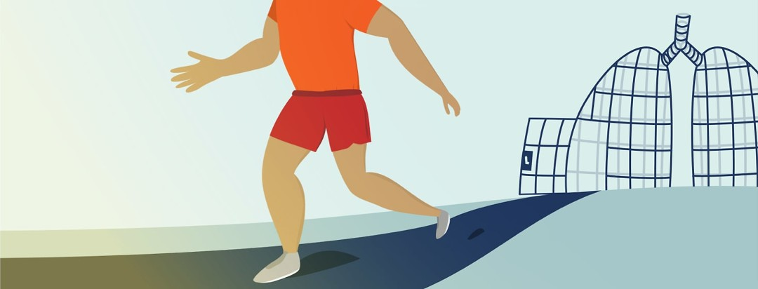 A man jogging away from a cage shaped like lungs