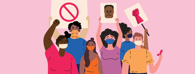 a multi-ethnic group of people hold up signs while wearing face masks