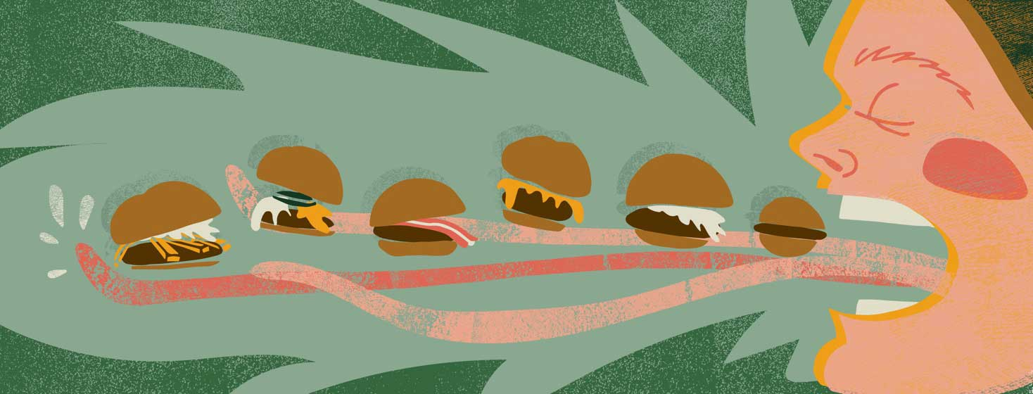 a man with a very long tongue eats many hamburgers at once
