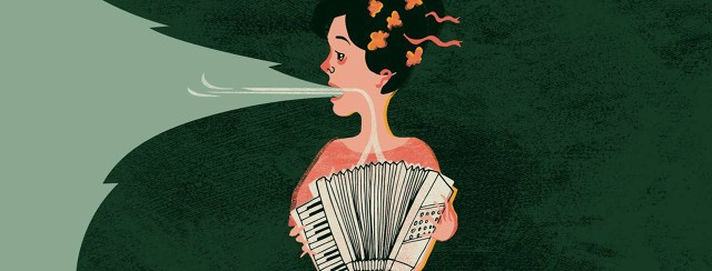 a woman with an accordion for lungs breathes in and makes a whistling sound