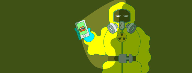 a person in a hazmat suit holds a cellphone with a mouth blasting falsehoods