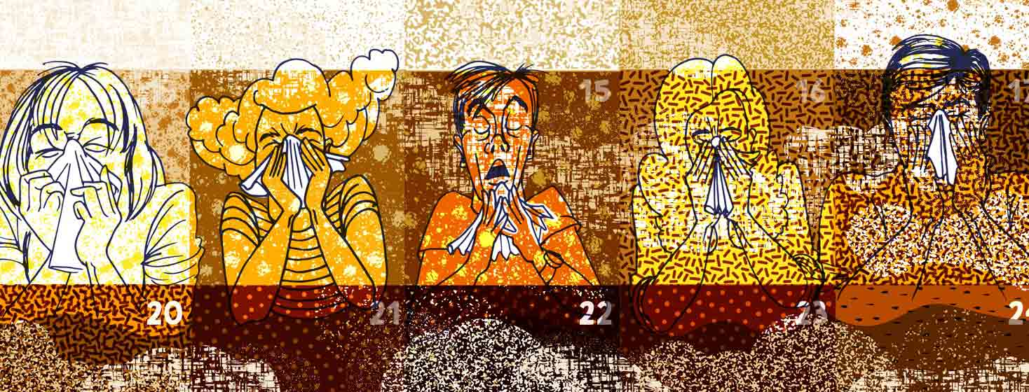 a dirty dusty calendar with a different sneezing person drawn in each day of one week
