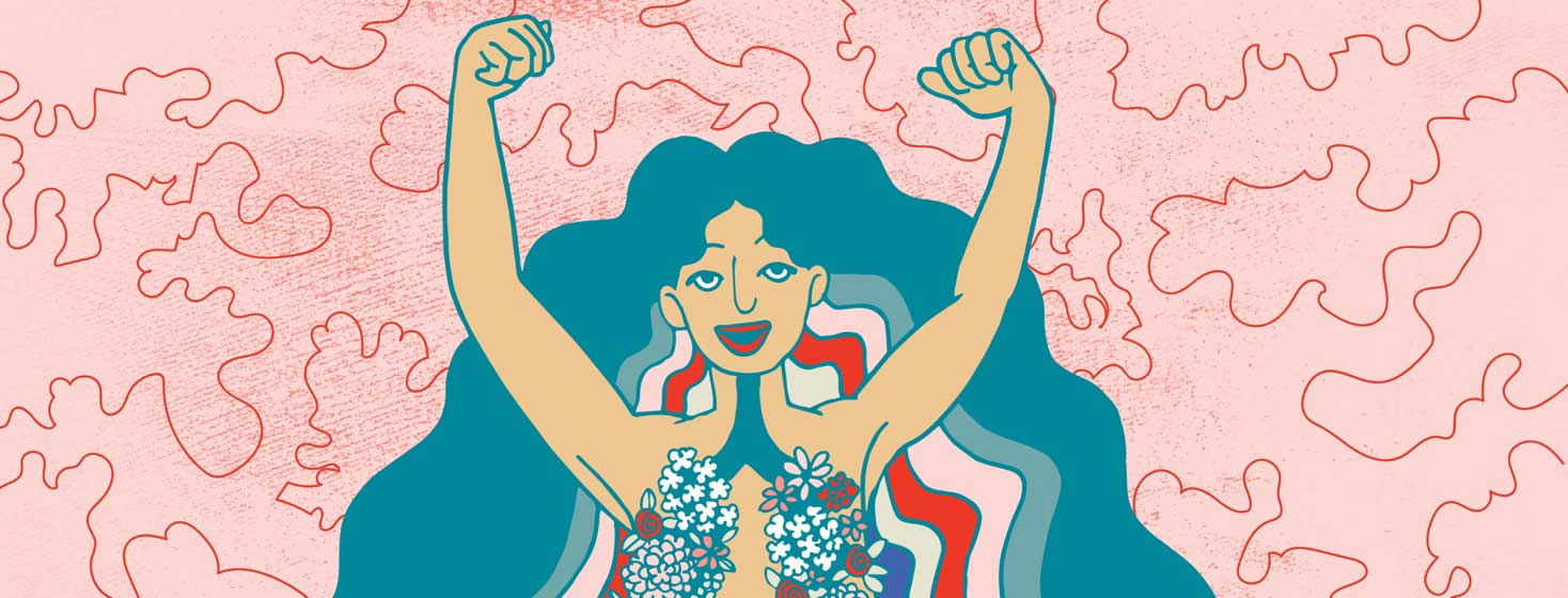 a woman raises her hands above her head in triumph. She is naked but her lungs are represented by bunches of flowers on her chest