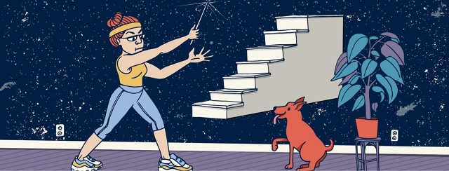 a woman waves a magic wand at a set of stairs that is floating out of her reach