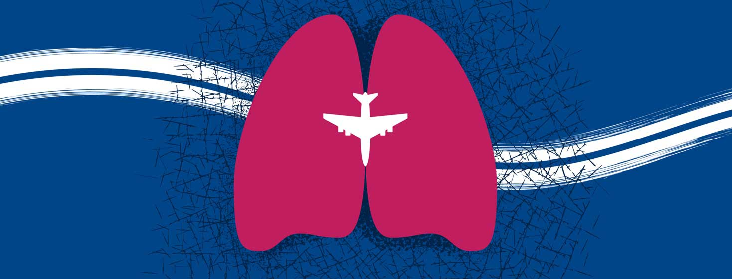 lung shapes with an airplane in between them