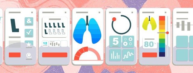 screen views of a mobile app featuring lungs and inhalers