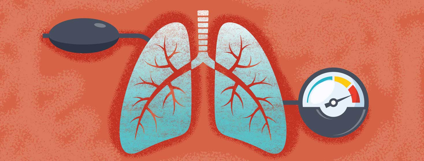lungs with a blood pressure gauge and hand pump