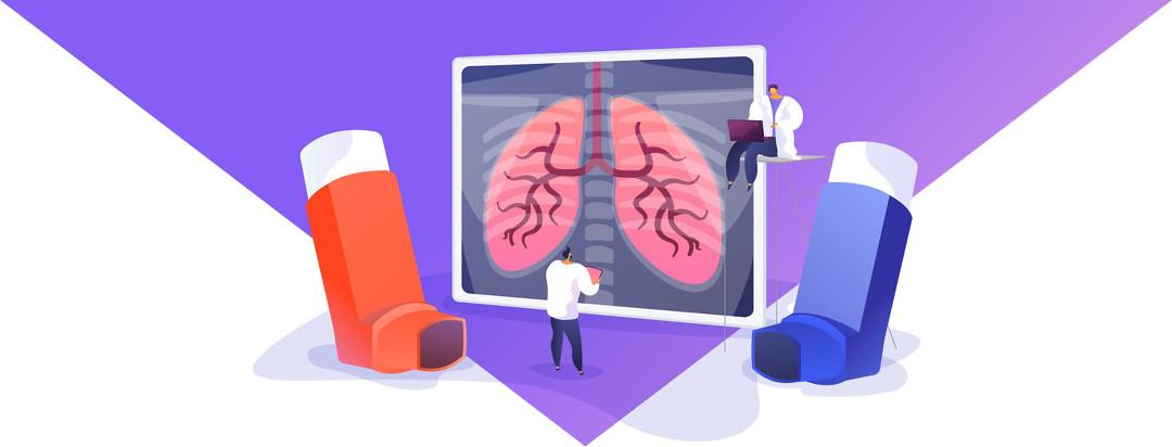 a lung scan and a red inhaler and a blue inhaler