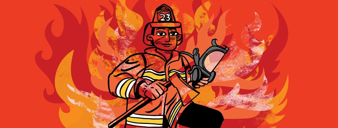 a female firefighter holds an axe and a mask