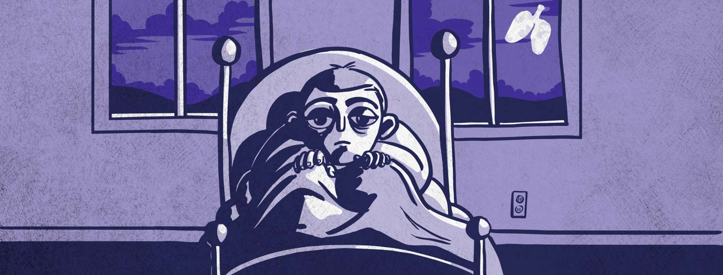 a person stays awake in a dark bedroom. The moon shows through the window and is shaped like lungs.