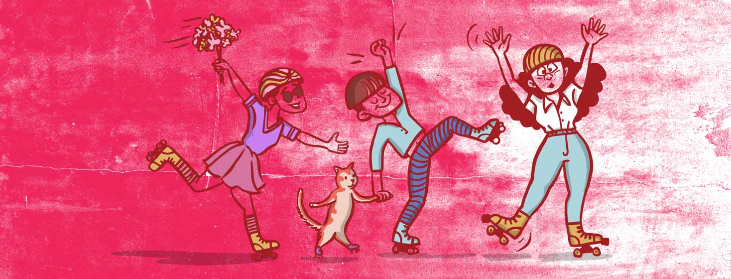 three people and a cat learning how to rollerskate