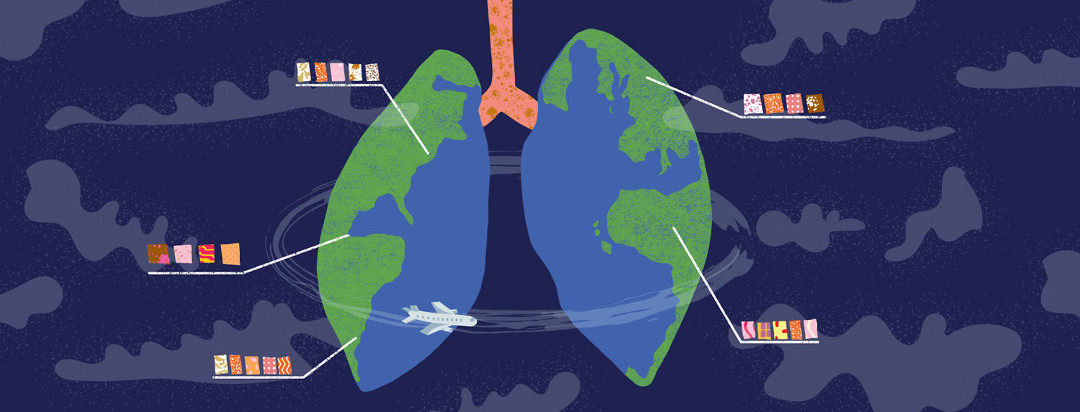 a set of lungs drawn to look like a globe. An airplane flies around it, and labels show different levels of pollution and pollen in different continents.